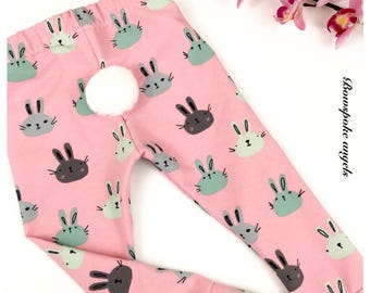Bunny leggings -  baby leggings - easter leggings - toddler leggings - pompom tail
