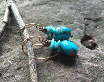 Simple Turquoise earrings,  rustic dangles, arizona