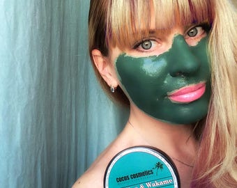 Mothers Day gift / Green clay mask / Spirulina face mask/ Antioxidant clay mask / Antiaging facial mask / Acne treatment / Organic face mask