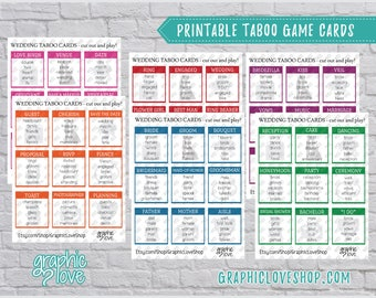 Printable Wedding, Engagement, Bridal Shower Taboo Game 54 Cards | PDF File, Instant Download, DIY, File NOT Editable