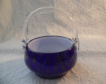 Hand Made Blue and White Glass Basket