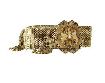 Victorian 14K Gold Enamel Fringed Slide Bracelet