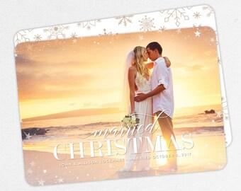 24 HOUR TURNAROUND, Married Christmas Card, Newlywed Holiday Card, Holiday Photo Card, Christmas Card, Holiday Thank You, Christmas Wedding