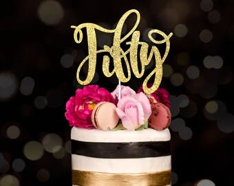 Fifty cake topper, glitter cake topper, 50th wedding, gold