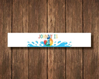 Personalized Birthday Pool Party Water Bottle Labels - Custom Digital Copy