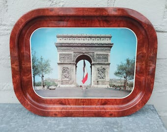 """Vintage 50-60s Souvenir of Paris """"The Arc-de-Triomphe"""" metal tray."""