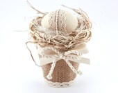 Burlap Easter GIft, Easter Eggs, Easter Decorations, Spring Decor, Easter Decor, Decoratiove Easter Basket