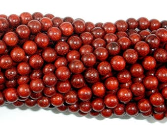 Red Sandalwood Beads, 6mm(6.3mm) Round Beads, 25 Inch, Full strand, Approx 108 Beads, Mala Beads (011733003)