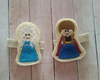 Anna and Elsa hair clips, Elsa hair clip, Frozen hair clips, felt,  Felt hair clip, Disney hair clip, girls hair clip, toddler hair clips