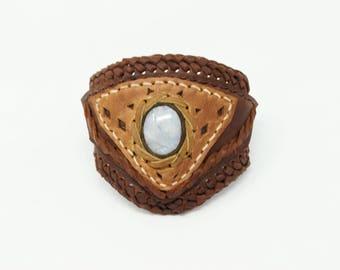 Araceli Triple Cuff-Handmade-Leather Bracelet-Genuine Leather-Leather Wrap-Brown Leather-Soft Leather-Customized-Dark Brown Leather