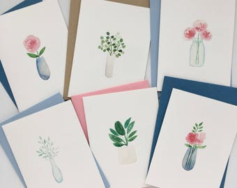 Set of 6 Botanical Watercolor Cards