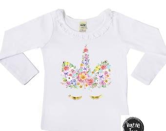 Unicorn Birthday Shirt - Ruffle Collar Girls' Shirt - Unicorn Face Shirt - Girls' Birthday Shirts - Floral Unicorn Face - Unicorn Shirts