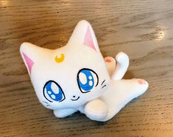 Sailor Moon inspired Artemis beanie plush, floppy cat plush, kuttari kitten plush, bean bag plush