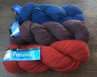 Berroco PERUVIA 9.75+1.50ea to Ship Crimson, Purple Heather, Blue 100% Highland Wool 174yds 100g Soft, Halo, Feltable + Patterns. MSRP 11.99
