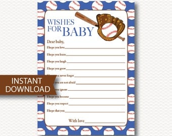 Wishes for Baby, BASEBALL Baby Shower Game, Instant Download, Cute, Baseball, Bat, Sports, Red, Blue, DYI,  Printable, Baby Boy, B102