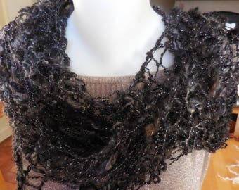 Hand dyed handspun knitted shawl