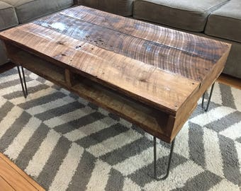 Vintage Style Rustic Reclaimed Wood Coffee Table on Brushed Steel Hairpin Legs