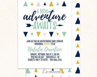Adventure Baby Shower / DIGITAL / Adventure Shower Invitation / Adventure Awaits Invitation / Adventure Awaits Baby Shower / Triangle Shower