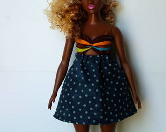 Peek-A-Boo Tropical Print Dress for Curvy Size Fashion Doll