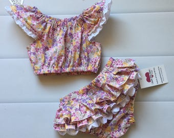 Baby Girl Ruffle Nappy Cover, Nappy Cover and Crop Top Set, Size 0, new baby gift, 1st Birthday, summer outfit