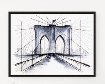 Brooklyn Bridge painting, City art, Watercolor Print, Travel Illustration, Art Print, New York, Modern art, Watercolor Poster, Printable art