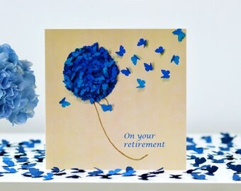 On Your Retirement Blue Hydrangea Card, Flower Retirement Card, Butterfly Retirement Card, Gardening Retirement Card