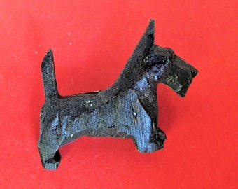 Cute Art Deco Black Bakelite? Scottie Dog Brooch