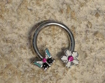 Butterfly & Flower Daith Piercing Horseshoe Ring - UK Seller