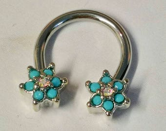 Turquoise & AB Crystal Flower Daith Piercing Horseshoe Ring - UK Seller