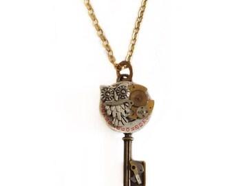 Steampunk necklace, owl, Halloween Jewelry, Mexico