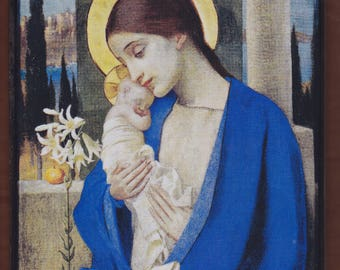Virgin Mary,Marianne Strokes, La Madonna col Bambino(1905).FREE SHIPPING