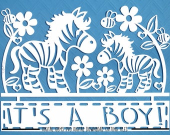 Zebra baby boy paper cut svg / dxf / eps / files and pdf / png printable templates for hand cutting. Digital download. Commercial use ok.
