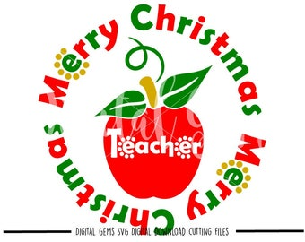 Merry Christmas Teacher svg / dxf / eps files. Digital download. Compatible with Cricut and Silhouette machines. Small commercial use ok.