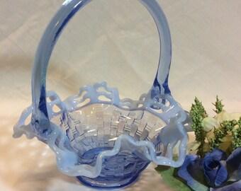 Vintage Fenton Blue Opalescent Basket Weave Basket Open Weave Rim!  Weddings, Easter, Showers!!