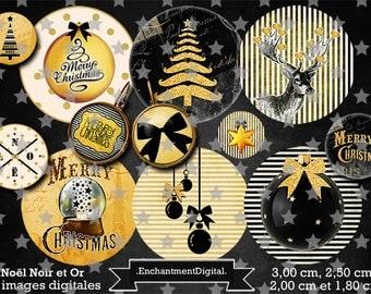 Retro digital digital * Christmas * Christmas black gold glitter star vintage collage digital scrapbooking cabochon jewel
