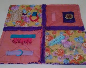 Fidget Mat for Alzheimer's - Dementia Patients, Rag Quilt, Sensory Quilt, Lap Quilt
