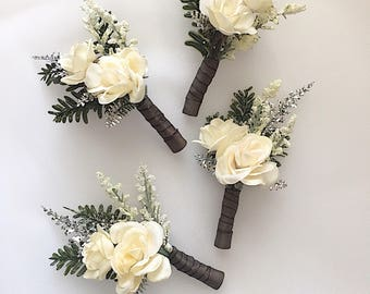 Wedding boutonnieres, winter boutonniere , groomsmen flowers, groom boutonniere.
