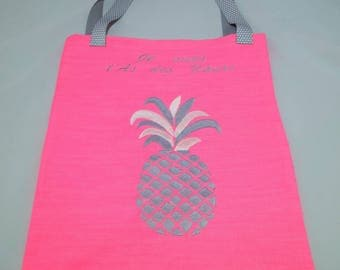 Tote Bag embroidered hot pink