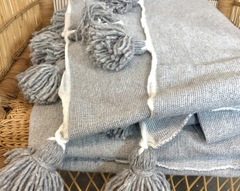 Pom Pom Blanket Grey, Morocco