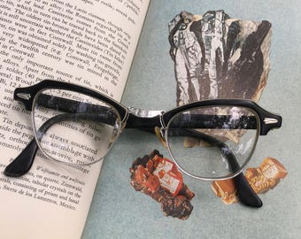 Vintage Eyeglasses, Black Cat Eye Glasses, Bausch & Lomb Eyeglasses, Cat Eyeglasses, Retro Eyeglasses, Rockabilly, Pin Up Style, Retro