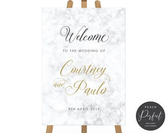 Grey Marble Wedding Welcome Sign, Welcome Poster, Calligraphy, Free Colour Changes, DIY Printable We Print, Golden Marble