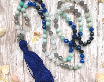 Smoke On The Water 108 Beaded Gemstone Mala Tassel Necklace