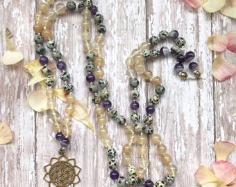 Strong Connections Mala - Amethyst, Dalmatian Jasper, & Quartz