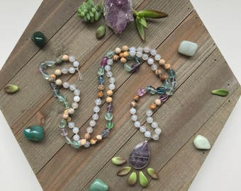 Gemstone Beaded 108 Mala - featuring: rainbow fluorite, milky agate, and jasper, with amethyst pendant