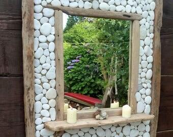 Dorset Driftwood & White Beach Pebble Mirror 85 x 64 cm with Shelf Hand Made Shabby Chic