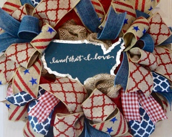 Land that I Love Red and Blue Burlap Mesh Wreath; Country Primitive Patriotic Decor Wreath; Fourth of July Memorial Day Labor Day Wreath