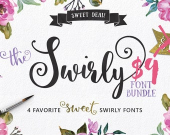Swirly Font Bundle, Hand Made, Sweet Price, Commercial Download