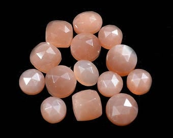 Top AAA 42 Cts. AAA Quality Natural Peach Moonstone 14 Piece Mixed Faceted Calibrated 8 to 10 mm Loose Gemstone Wholesale Lot