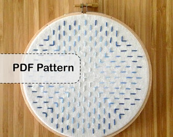 Geometric Embroidery Pattern - Beginner, Ombre Pattern - PDF - DIY Stitched Artwork
