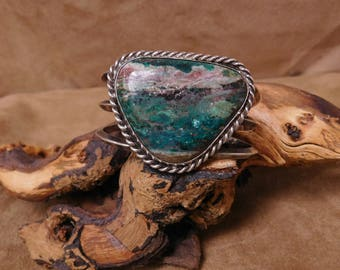 Sterling Silver Chrysocolla Large Cuff
